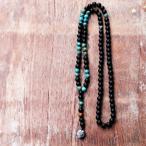 New Design Blue ZebraTurquoise Matte Black Mala Beads With Black Ohm Buddha Pendant Men Rosary Beaded Necklace