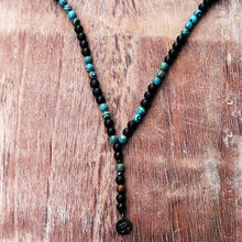 New Design Blue ZebraTurquoise Matte Black Mala Beads With Black Ohm Buddha Pendant Men Rosary Beaded Necklace - ShopeeShipee