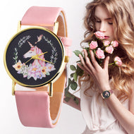 New Fashion 1pc women Gilrs watch Cute Anima Unicorn l Kids Girls Leather Band Analog Alloy Quartz Watch Montres