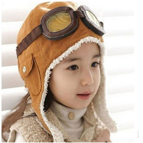 New Fashion Cute Winter Baby Toddler Baby Boy Girl Kids Pilot Aviator Warm Cap Hat Beanie Pilot Caps 2 Colors - ShopeeShipee