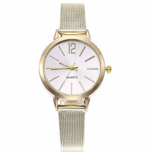 New Fashion Women Stainless Steel Silver Gold Mesh Watch Unique Simple Watches Casual Quartz Wristwatches Clock Hot Sale