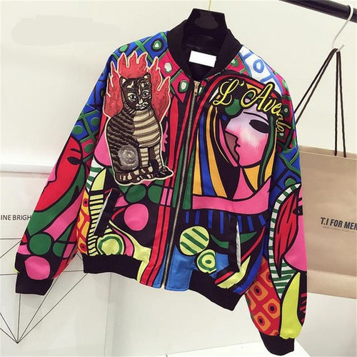 New Queen Embroidery Bomber Jacket Women Harajuku Cat Pilot Jacket Coat Casual Printing Basic Baseball Jackets Outwear jaqueta - ShopeeShipee