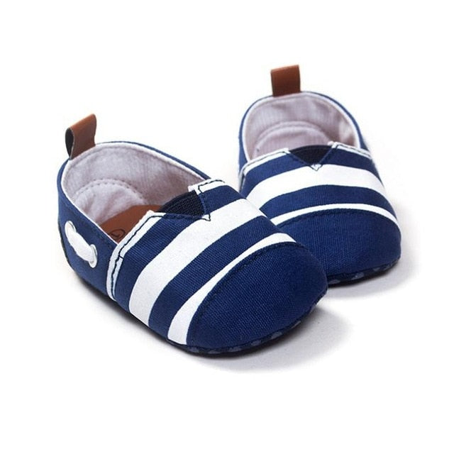 Newborn Baby Boys Leisure Handsome Kids First Walkers Shoes Infant Babe Crib Soft Bottom Striped Loafer Shoes