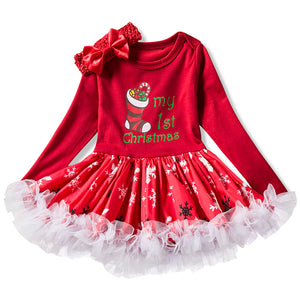 Newborn Girl My 1st Christmas Dresses Santa Cartoon Dress For Baby Girl Winter New Year Party Gown Costume vestido infantil - ShopeeShipee