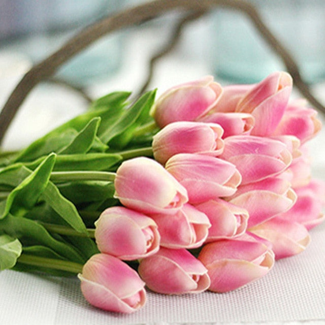 NieNie 1PC PU Tulips Artificial Flowers Real touch artificiales para decora mini Tulip for Home Wedding decoration Flowers - ShopeeShipee