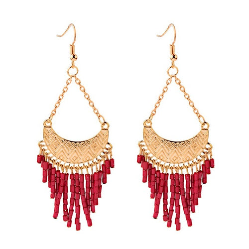 New Bohemia Gold Metal Moon Shaped Red Rice Beads Indian Jhumka Tassel Drop Earrings For Women Ethnic Gypsy Jewelry - ShopeeShipee