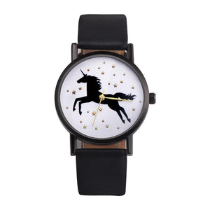 OKTIME New Fashion Simple Style Unicorn Watch Women Lovely Gold Star Deco quartz watch Women casual Leather Clock Reloj mujeres