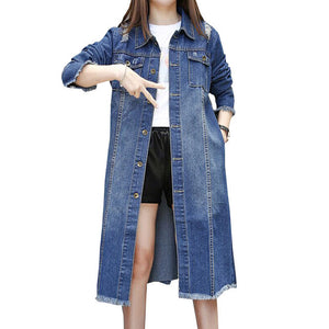 Oversized Coats Autumn Long Denim Trench Coat Women Fashion Single-Breasted Outwear Plus Size Jeans Female Overcoat Trench C3562