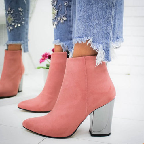 Women Shoes Ankle Pumps Flock  Toe Boots Solid Autumn Spring New High-heeled Shoes Botas Mujer - ShopeeShipee