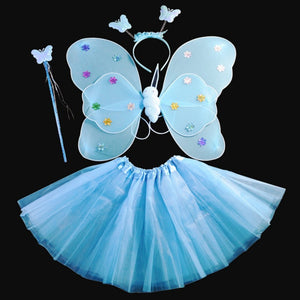 Party Dance Costumes Cosplay Fairy Princess Kids Butterfly Wings +Wand+Headband+Tutu Skirt New - ShopeeShipee