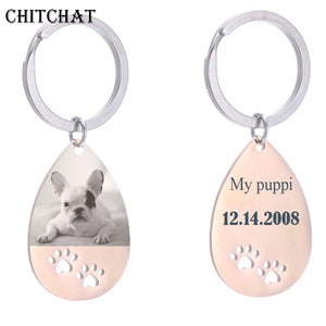 Personalized Customized Photo Engrave Dog Tag Keychains Stainless Steel Water Drop Keepsake Key Chains For Gifts - ShopeeShipee
