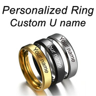 Personalized Rings Stainless Steel Customized Engraved With Your Name Texts Signature Handwriting Men Women Unisex Titanium Ring