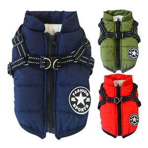 Pet Harness Coat Winter Cotton Jacket with Harness Puppy Outdoor Walking Adjustable Chest Strap Dog Cloth Vest Chihuahua Bulldog - ShopeeShipee
