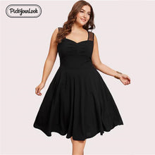 PickyourLook Plus Size Women Dress Lace Evening Party Ladies Vestidos Summer Solid Black Dress V Neck Spaghetti Strap Midi Dress