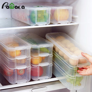 Plastic Storage Bins Refrigerator Storage Box Food Storage Containers with Lid for Kitchen Fridge Cabinet Freezer Desk Organizer