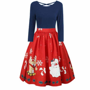 Plus Size 5XL Womens Dress Long Sleeve Christmas Print Cross Party Dress Kawaii Deer Women Dress Vestidos#121