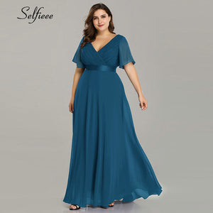 Plus Size Long Dress For Wedding Party For Woman 2019 Robe Femme New Elegant A Line V Neck Short Sleeve Summer Beach Dress Boho