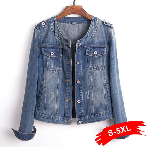 Plus Size Round Collar Jeans Jacket 4XL 5XL Sweet Women Light Blue Bomber Short Denim Jackets Long Sleeve Jaqueta Casual Coat - ShopeeShipee
