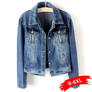 Plus Size White Blue Bomber Short Denim Jackets 4XL 5XL Streetwear Stretch Jeans Jacket Casual Jaqueta Jeans Coat Female Tops - ShopeeShipee