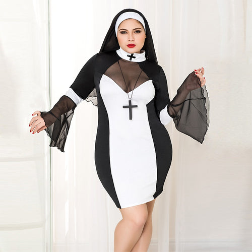 Plus Size Women Sexy Nun Cosplay Costume Black Nuns Costume Halloween Nurse Witch Suit Masquerade Role-playing Uniform P71109 - ShopeeShipee