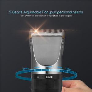 Professional Low Noise Rechargeable Haircut Machine Adjustable 0.8-2mm Electric Shave Titanium ceramic blade Hair Clipper P49