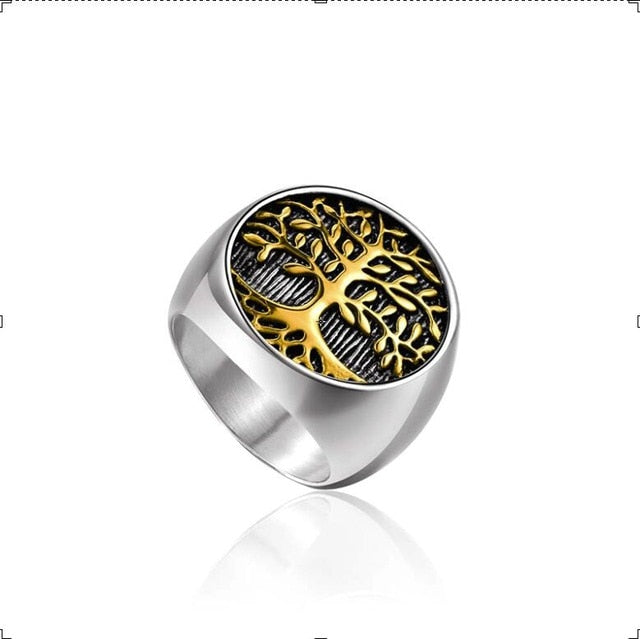 Punk Stainless Steel Titanium Tree Of Life Ring Silver Gold Color Life Tree Rings For Men Ring Jewelry Bague Homme