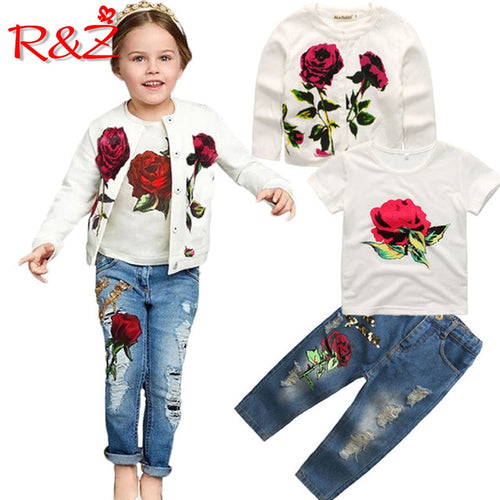 Spring Autumn New Brand Fashion Rose  3pcs 2-9Y Kids long sleeves flower Children Clothing