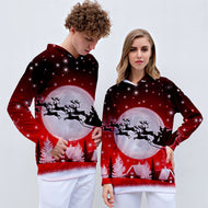 Christmas Hooded Sweater 3d Printing Men And Women Long Sleeve Tops Couples