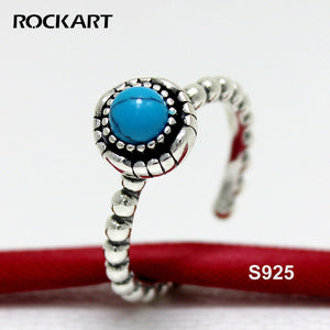 ROCKART Pure Silver Turquoise Ring Vintage Bohemia Style Blue Gemstone Rings For Women Adjustable 2018 Summer New Fine Jewelry - ShopeeShipee