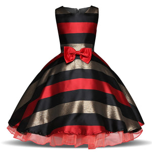 Red Striped Halloween Girls Clothes Children Party Ball Gowns Girls Christmas Costume Flower Wedding Dresses For 4-10 Years Old - ShopeeShipee