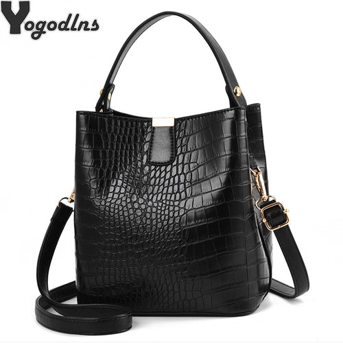 Retro Alligator Bucket Bags Women Crocodile Pattern Handbag Capacity Casual Crocodile Shoulder Messenger Bags Ladies PU Purse - ShopeeShipee