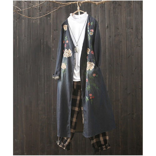 Spring Autumn New Loose Large Size Cardigan Coat Female Cotton Jeans Jacket