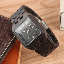 Retro Wood Watches for Men Unique Rectangle Dial Light Clock Man Full Natural Woody Bracelet Calendar