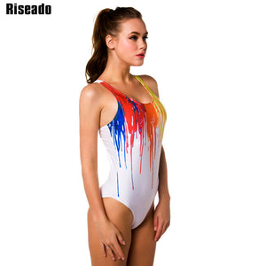 Riseado New 2018 One Piece Swimsuit Sport Swimming Suits for Women Paint Printed Swimwear Backless Bathing Suits XXL