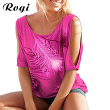 Rogi Female T Shirt Plus Size 2019 Summer Feather Print Harajuku T-Shirts Women Off Shoulder Ladies Basic Tee Tops Blusas Mujer