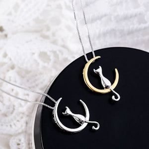 Moon And Cute Cat Pendant