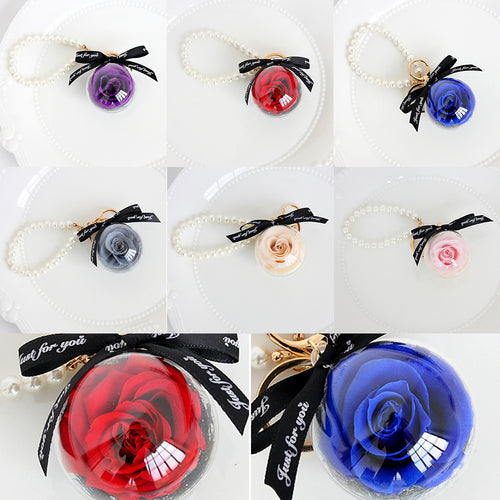 Rose In Glass Creative Wedding Present Preserve Flower Pedant Hanging Keychain Pearl Pearl Bracelet Eternal Pendant Keychain - ShopeeShipee