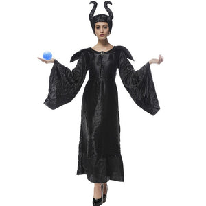 S-XXXL Maleficent Halloween Costumes for women Witch Cosplay Fairy Tale Sleeping Beauty Curse Witchcraft Black Dress Horns