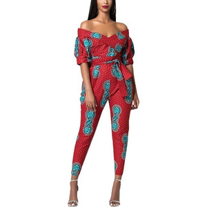 Dashiki Women's African Clothes Off-shoulder V Neck Jumpsuit Striped Geometric Pattern Ankara Jumpsuit - ShopeeShipee
