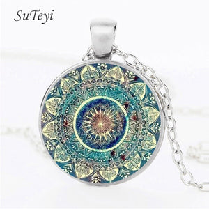 SUTEYI Vintage Glass Dome Necklace Buddhism Chakra Glass Cabochon Pendant Jewelry Om India Yoga Mandala Necklaces For Unisex - ShopeeShipee