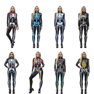 Scary Halloween Skeleton Print Costume Adult Women Horror Carnival Joking Catsuit Jumpsuit Long Sleeves Bodysuit For Lady Girls - ShopeeShipee