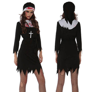 Scary Women Bloody Nun Sister Costume Sexy Short Black Nuns Fancy Dress Costumes Arabic Religion Monk Ghost Uniform Halloween - ShopeeShipee