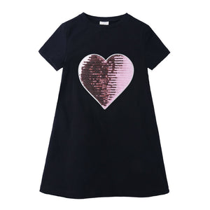 Sequin Love Children Girls Dress Cotton Short Sleeve Kids Dresses For Girls Summer Children Girl Clothing O-Neck Birthday Dress - ShopeeShipee