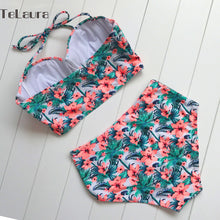 Sexy Floral Print High Waist Swimsuit 2017 Bikini Push Up Swimwear Women Vintage Biquini Bathing Suit  Maillot de Bain Femme XXL