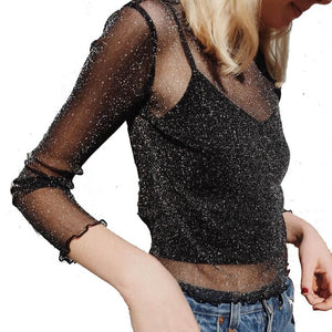 Sexy Mesh Shiny Long Sleeve T Shirt Women Spring Transparent Club Party Black Tee Shirts Sexy Thin O Neck Short Tops