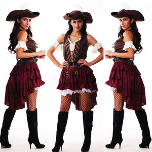 Sexy Women pirate costume woman plus size female Halloween Fancy Party Dress Carnival Adult Pirate Jack Sparrow Cosplay Costumes - ShopeeShipee