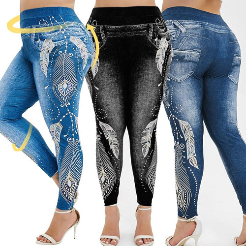 Women Plus Size High Waist Imitation Denim Fake Jeans Floral Print Leggings Trousers Capri Casual Workout Yoga Pants