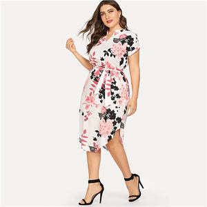 Sheinside Plus Size Elegant Floral Print Straight Belted Dress Women 2019 Summer Casual Roll Up Sleeve Boho Midi Dresses