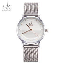 Shengke Brand Quartz Wrist Watches Fashion Watches Women Casual Dress Luxury Sliver Ladies Rhinestone Waterproof Reloj Mujer SK