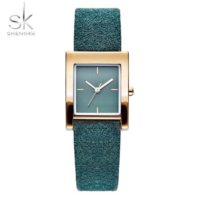 Shengke Genuine Leather Quartz Watch Lady Watches Women Luxury Antique Stylish Square Dress Watch Relogio Feminino Montre Femme